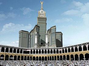 صورة لبرج مكة مع ساعته التي ستنافس بيغ بن اللندنية